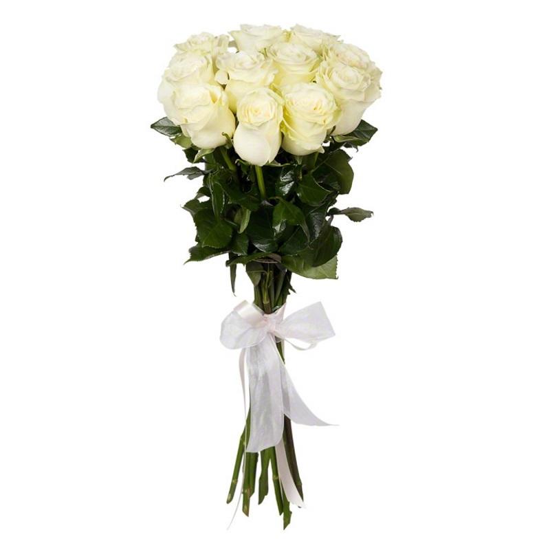 11 белых голландских роз 80см.